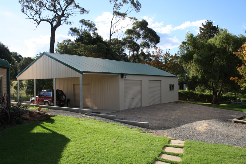 Garage With Garaport And Lean To Fair Dinkum Sheds